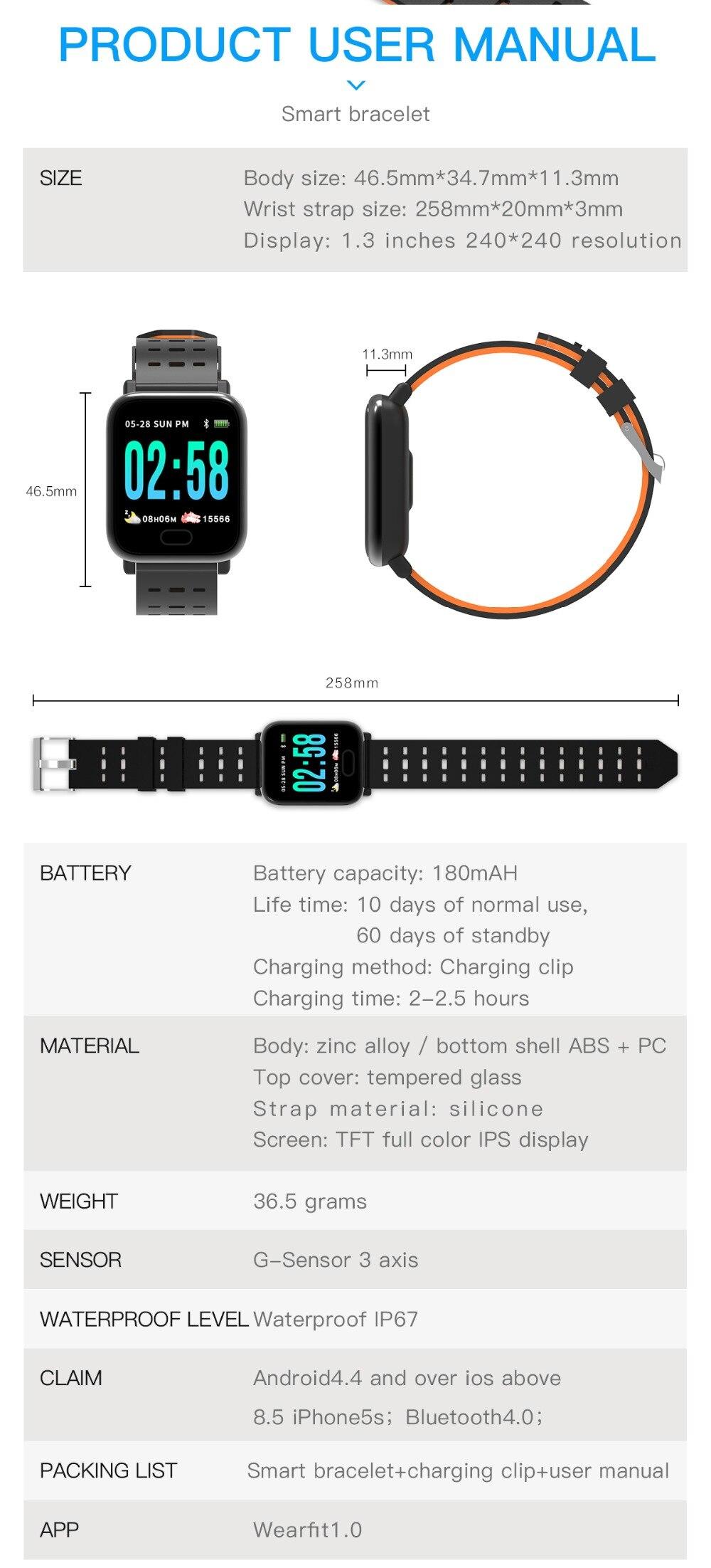 Wearpai bluetooth kids smart watch sport A6 fitness tracker men women heart rate Monitor watches for ios android waterproof ip67 10
