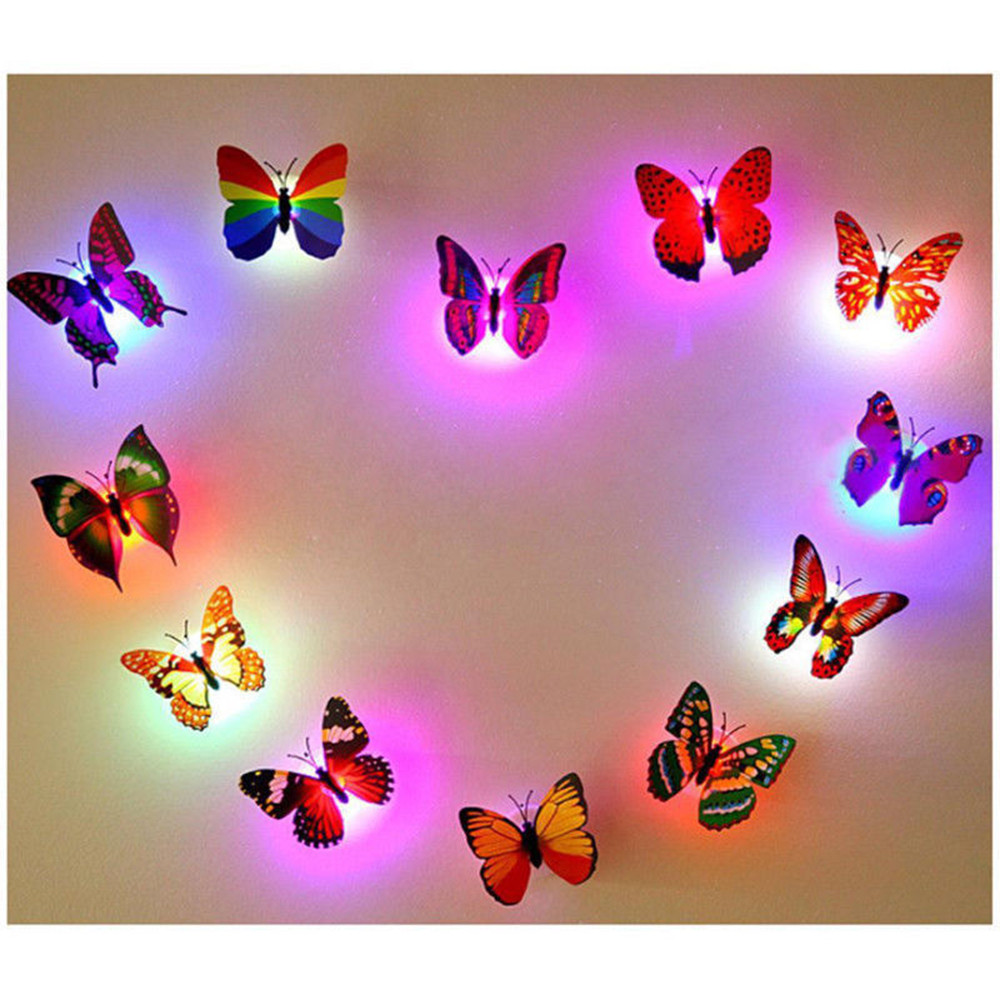 10 Pcs 3D Wall Sticker Butterfly LED Night Lights House Decoration For Kids Rooms Cute Animals stickers muraux enfant