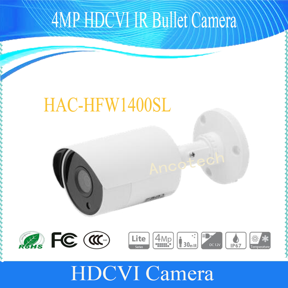 Free Shipping DAHUA Security Camera CCTV 4MP HDCVI IR Bullet Camera IP67 without Logo HAC-HFW1400SL free shipping dahua cctv camera 4k 8mp wdr ir mini bullet network camera ip67 with poe without logo ipc hfw4831e se