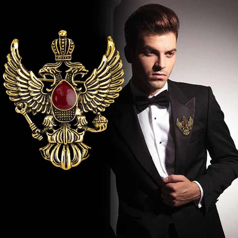 High-End Retro Wing Pin Logam dan Bros Vintage Double-Headed Eagle Lencana Bros Punk Mahkota Suit Kerah pin Pria Aksesoris