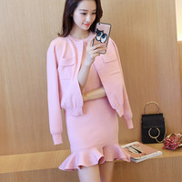 2019 New Fashion women Spring Autumn Sweater Dress High Quality Two pieces Pullovers Trumpet Mermaid Dresses