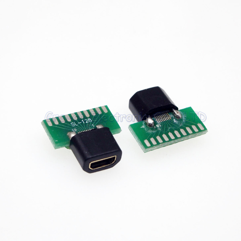 25set 2 in 1 MICRO HDMI Female socket connector Micro HDMI with PCB board with plastic shell