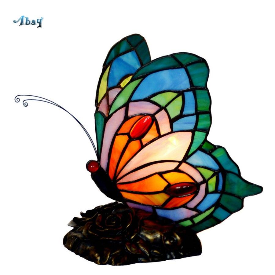 Art déco vitrail papillon lampes de Table pour salon chambre étude décor à la maison Tiffany lampe Loft luminaire Led E14