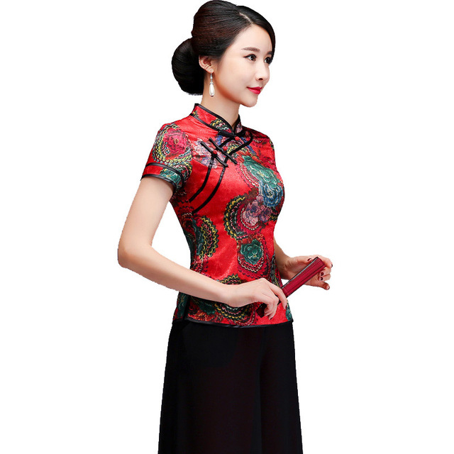 c84a851e37 Chinese Style Women Mandarin Collar Shirt Top Elegant Mother Wedding  Clothing Summer New Short Sleeve Blouse Plus Size 3xl 4xl. Anniversary Sale  US   49.49