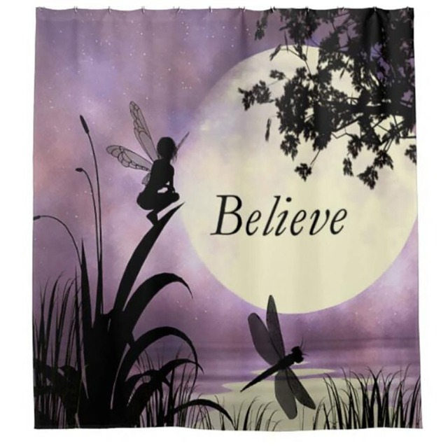 Believe Peter Pan Tinkerbell Shower Curtains Hooks Bathroom Curtain Waterproof Fabric Polyester Bathing Home Decal Bath Decor