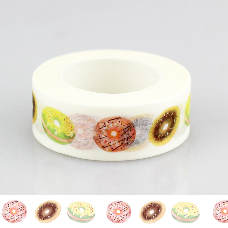 2017 NEW 1.5cm*10m Delicious Donuts Paper Washi Tape Adhesive DIY Scrapbooking Stickers Label Masking Tape Correction Tape Gift