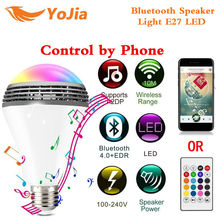 Yojia Smart Bluetooth Speaker Light E27 LED White+RGB Bulb Colorful Lamp Music Audio Speaker Remote Control for Home Stage