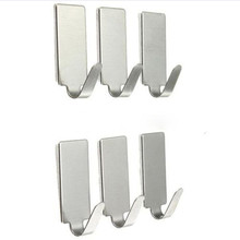 лучшая цена 6PCS Self Adhesive Home Kitchen Wall Door Stainless Steel Holder Hook Hanger X7.17