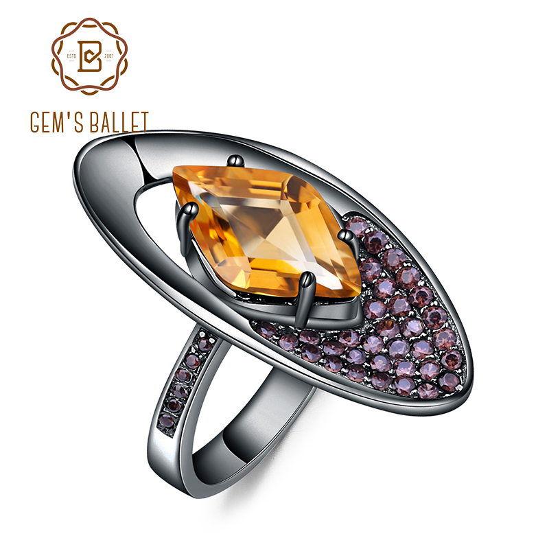 GEM S BALLET Natural Citrine Gemstones Finger Rings 925 Sterling Silver Geometric Shape Ring for Women