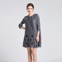 spring new women's tee sleeve geometric folds long section of lady dress code Miyake free shipping