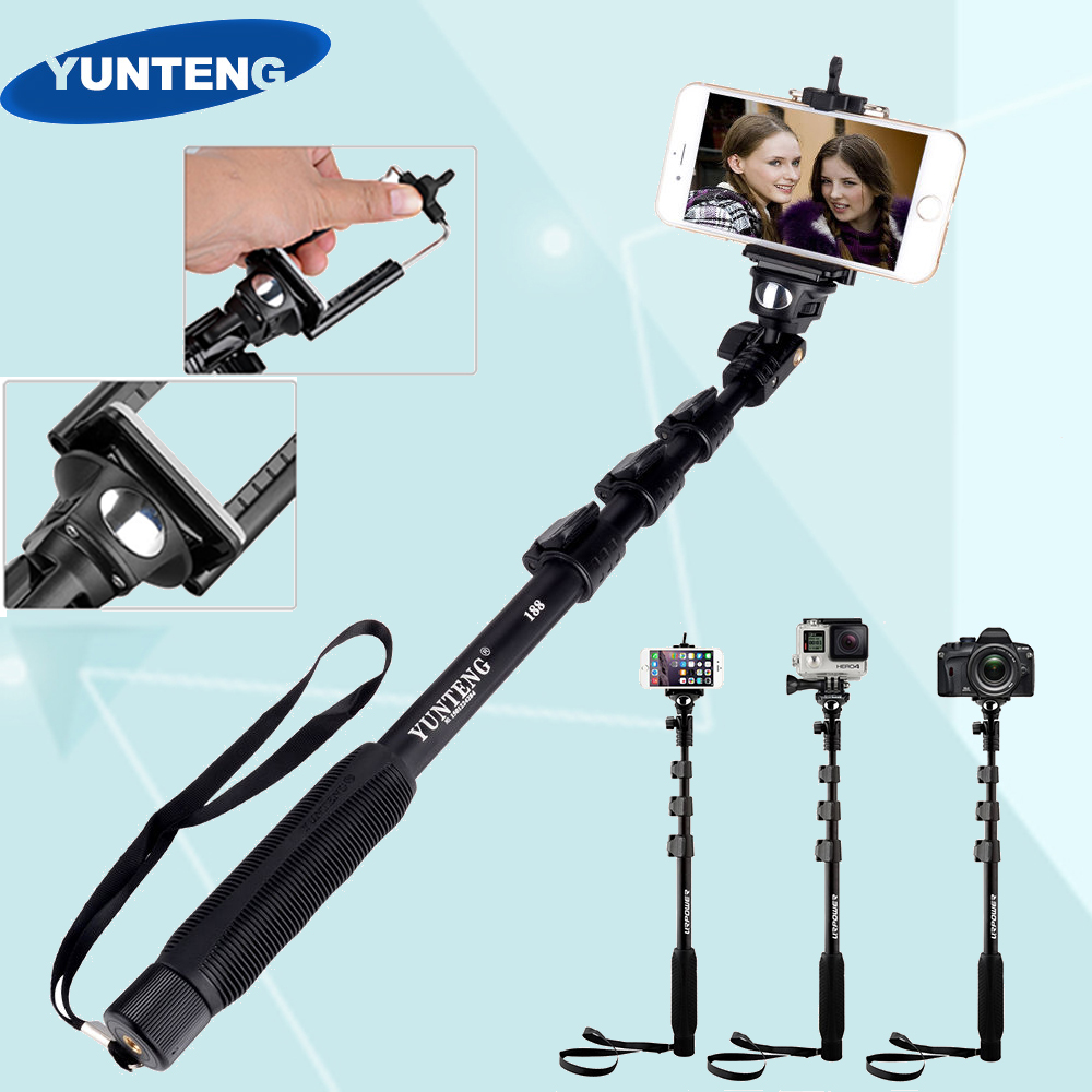 yunteng 188 extendable selfie stick portable handheld telescopic monopod for. Black Bedroom Furniture Sets. Home Design Ideas