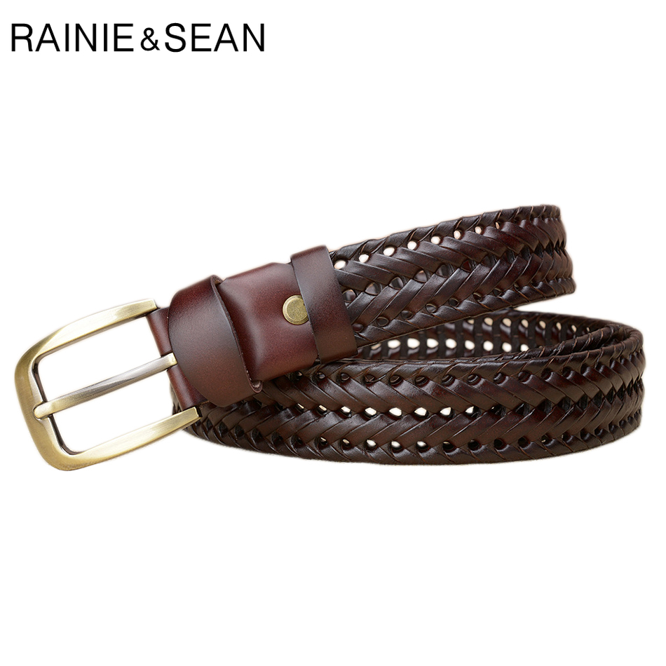 RAINIE SEAN Braided Leather Belt Men Burgundy Pin Buckle Belts Male Brand Genuine Leather Cowhide Casual High Quality Belt Jeans in Men 39 s Belts from Apparel Accessories