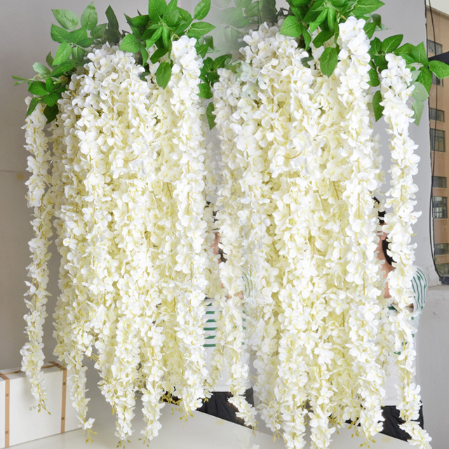 White Wisteria Garland 70 Hanging Flowers 5 Strings For Wedding Ceremony Decor Silk Vine
