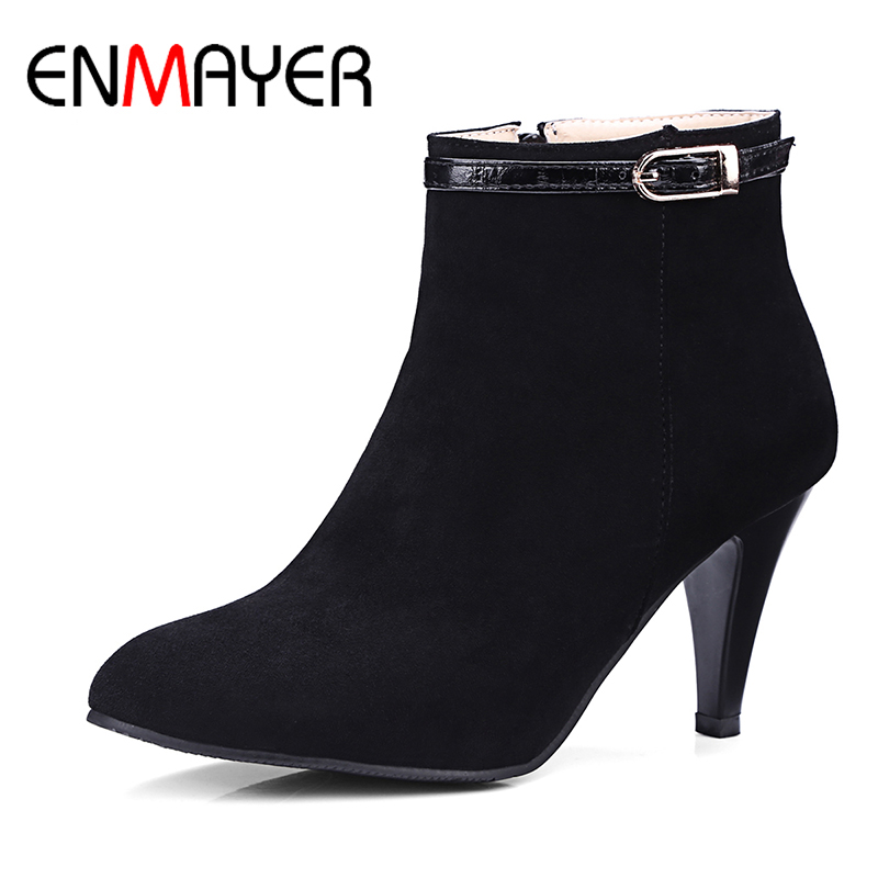 ENMAYER Woman Spike Heels Boots Shoes Ladies Solid Pointed Toe Zippe High Heels Large Size 34-46 Quality Shoes Spring/Autumn new 2017 spring summer women shoes pointed toe high quality brand fashion womens flats ladies plus size 41 sweet flock t179