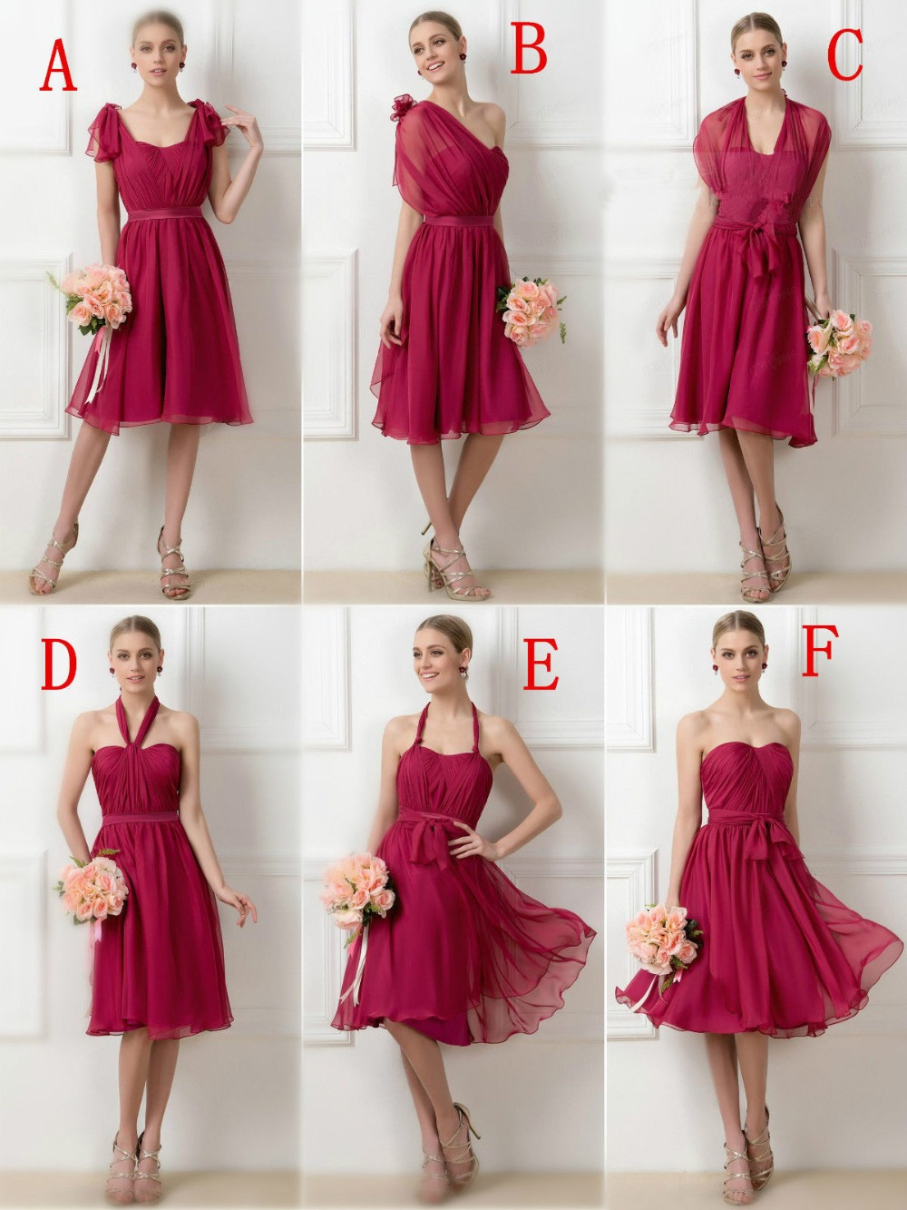 Hot sale tea length short bridesmaid dresses sleeveless for Short wedding dress sale
