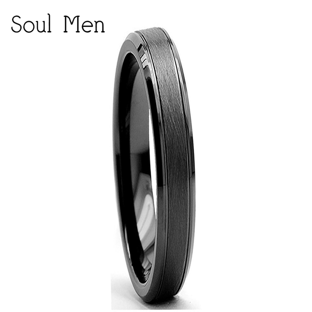 4mm Tail Finger Single Rings For Women Black Tungsten Carbide Wedding Band Best Anniversary Gift
