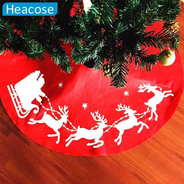 2017 Large Size 100cm Deer Printed Tree Skirt Christmas XMAS Decoration Merry Supplies