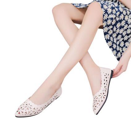 Fleur Bout Femmes Beige black Pointu Plates Chaussures Nouvelle Shallow Nude pink 2018 À Ipccm Forme Talon Évider Arrivée white Appartements tgvq6x