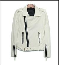 Original white oblique zipper epaulet short coat PU leather jacket fashion mens motorcycle faux leather jackets and coats M L XL
