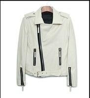 Oryginalny biały epolet ukośny zamek krótki płaszcz PU skórzana kurtka moda motocyklowe męskie faux skórzane kurtki i płaszcze M L xl
