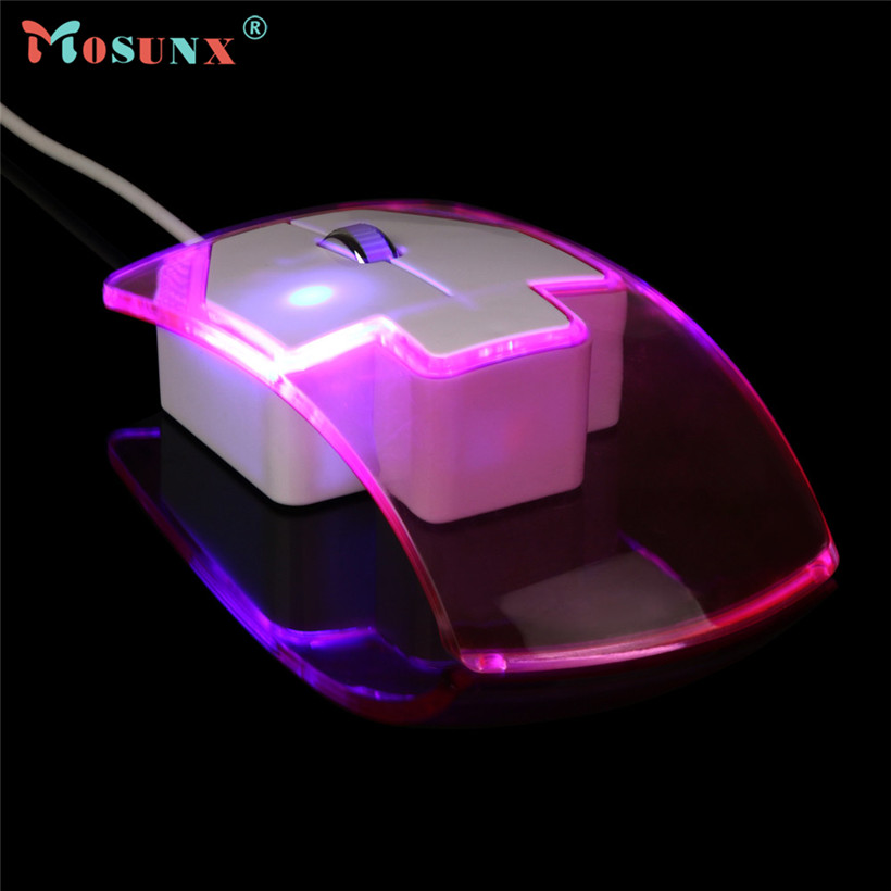 Mosunx Advanced New Transparent LED Wired Mouse 1600DPI