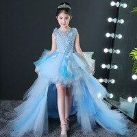 Летнее платье с бисером для девочек, вечернее платье, платье принцессы, Детские длинное свадебное платье, маленький хост, подиум, фортепиано