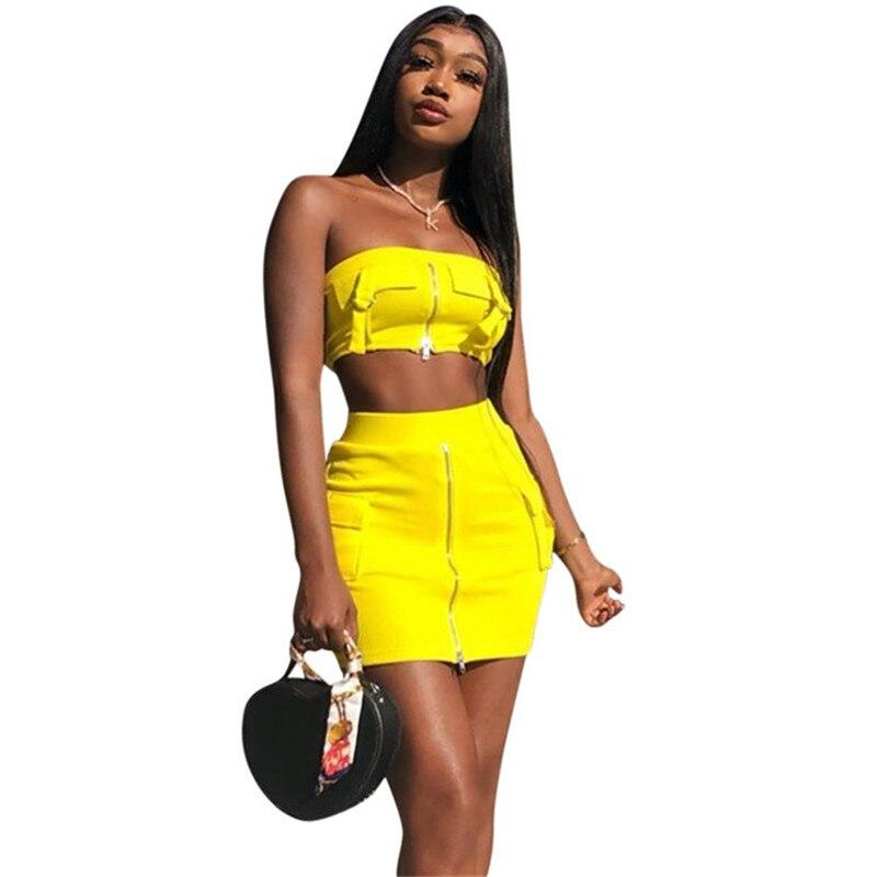 Sexy Summer 2 Piece Skirt Set Women Yellow Zipper Crop Top Mini Skirt Set Bodycon Festival Two Piece Matching Set Club Outfits