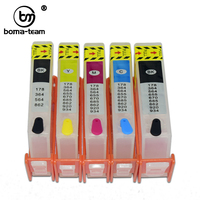 BOMA-TEAM HP364 364 364XL Refill Ink Cartridge With Auto Reset Chip For HP Photosmart 7510 7520 B8550 C5324 C5380 C6324 Printer