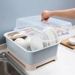 Image 1 - Tableware Container Drain Dust proof Storage Box Home Kitchen Tableware Cutlery Floor Style Storage Rack Bowls Organizer