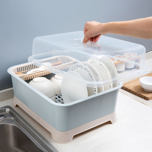 Tableware Container Drain Dust proof Storage Box Home Kitchen Tableware Cutlery Floor Style Storage Rack Bowls Organizer