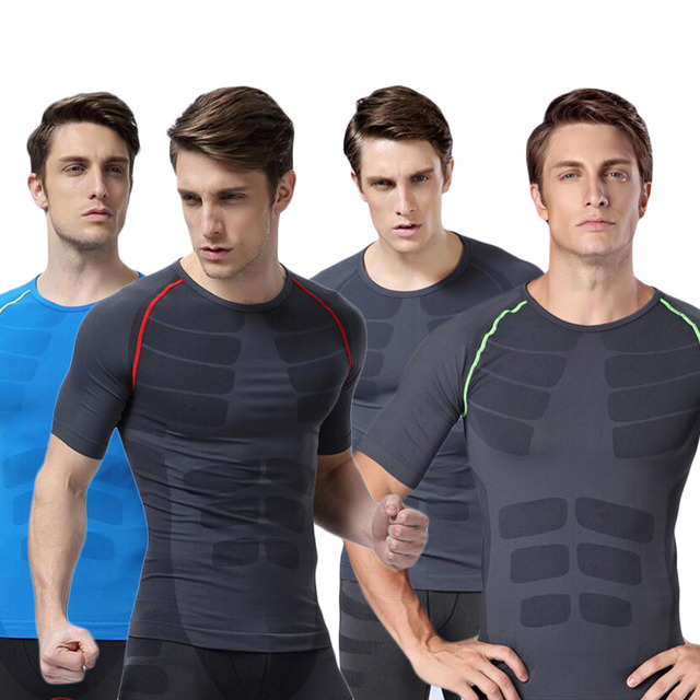 MA06 Men Sports Fitness Gym Compression Short Sleeve O-Neck Tight T Shirts Fast Drying Base Layer Tops M-XL free shipping