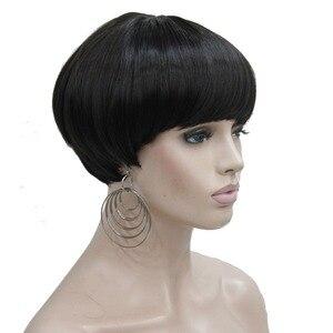 Image 2 - Strong beauty perruque Bob Hair, cheveux courts et lisses, noir et violet, perruque pour femmes, tête de champignon