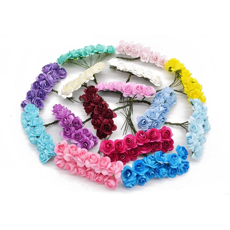36Pcs/lot 2cm Diameter Mini Artificial Rose Head Multicolor Paper Flower Bouquet For Scrapbooking Wedding Party Decoration
