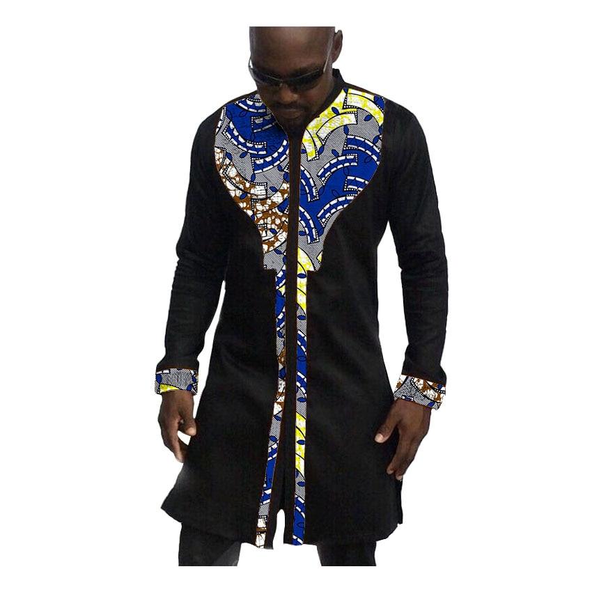 African print mens shirts fashion man dress shirt male dashiki ankara cotton and wax patchwork long style shirt customized