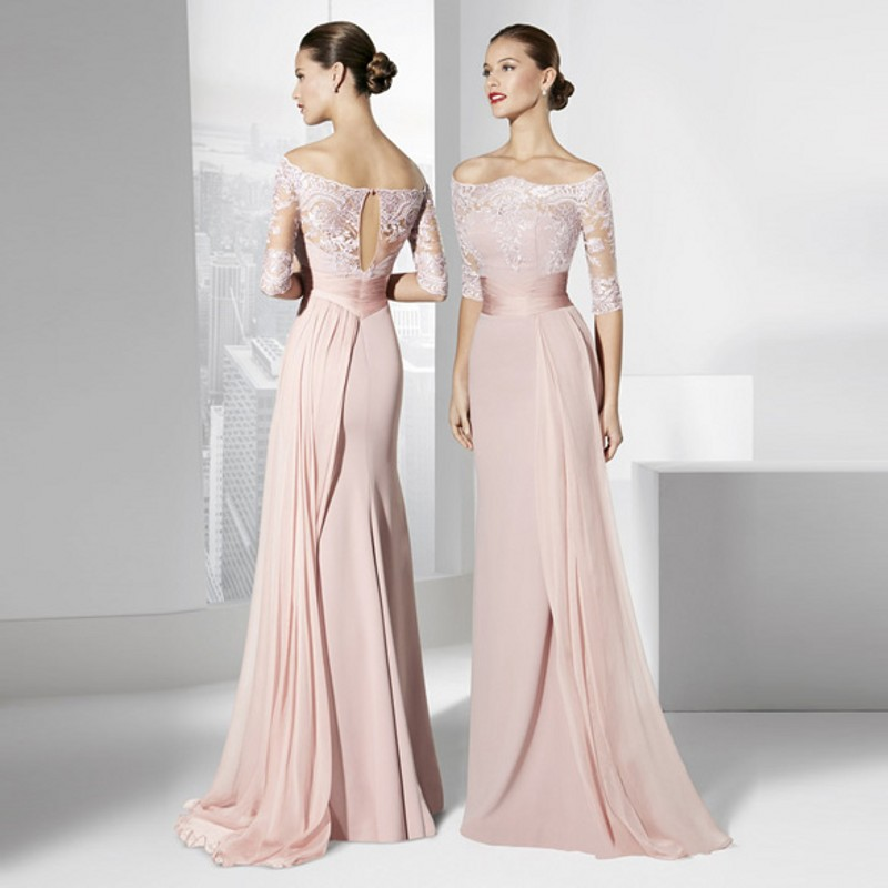 Special Occasion Dresses Half Sleeve Long Formal Evening Gowns Off