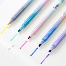 40 pcs/Lot Dula side writing Twin color highlight pen Fluorescent marker highlighter Stationery Office School supplies CJ723