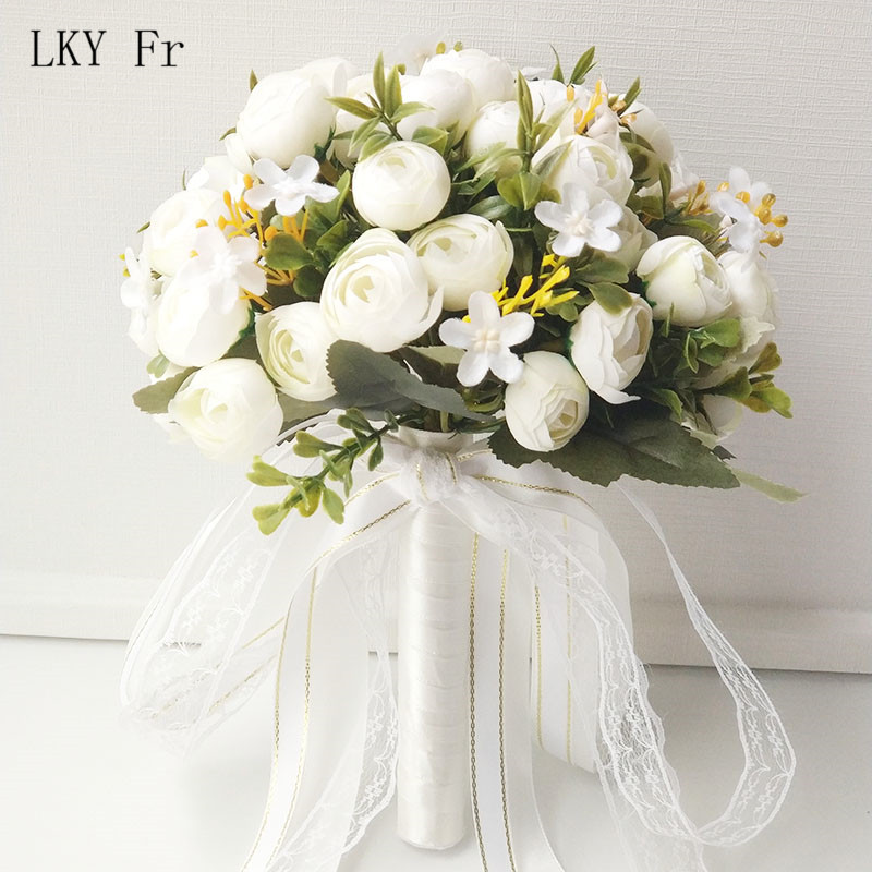 LKY Fr Bridal Bouquet Artificial Roses Wedding Bouquet For Bridesmaids Bride Wedding Flowers Bridal Bouquet Marriage Accessories