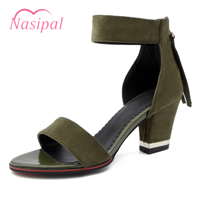 Nasipal Woman Sandals Thick Heels Fashion Ankle Strap Tassels Back Zipped Woman Summer Shoes Open Peep Toe Casual Sandals C344 woman sandals 2018 summer women concise bling open toe casual shoes woman fashion thick bottom wedges sandals