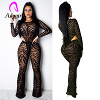 Adogirl patterns patchwork side hollow black jumpsuits long sleeve lace embroidery bodysuit long pants mesh one piece suits