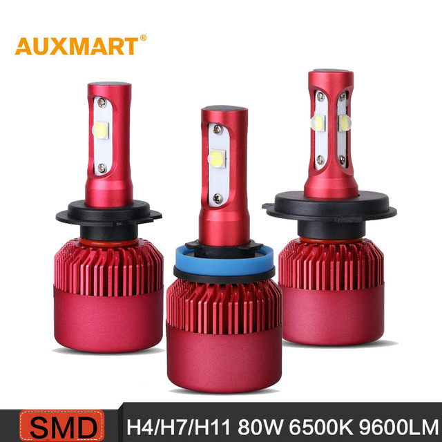 Auxmart H4/H7/H11 80W 9600LM 6500K Car LED Headlights Hi-Lo/ Single Beam Fog Lamps For Ford Honda Toyota Audi BMW VW Nissan Lada