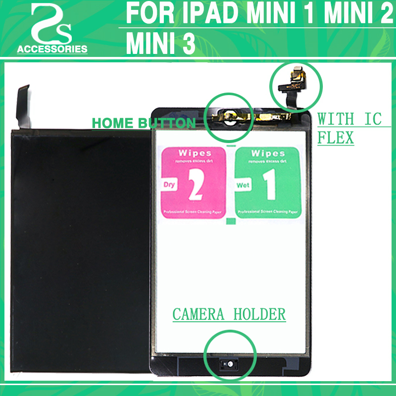 LCD Touch Panel For iPad Mini 1 / 2 / 3 Display Screen Digitizer Front Glass with IC Home Button Sticker Camera Holder Assembly black color free tempered glass lcd display touch screen digitizer home button front camera assembly for iphone 6s 4 7 inch