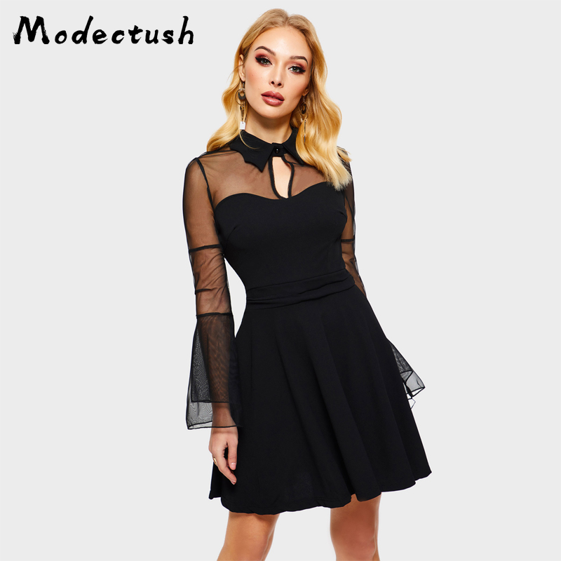 Modecrush Vintage Women Flare Sleeve Mesh Mini Dress 2019 Summer Plus Size Turn Down Collar Splice Dresses s-4xl Female Vestidos