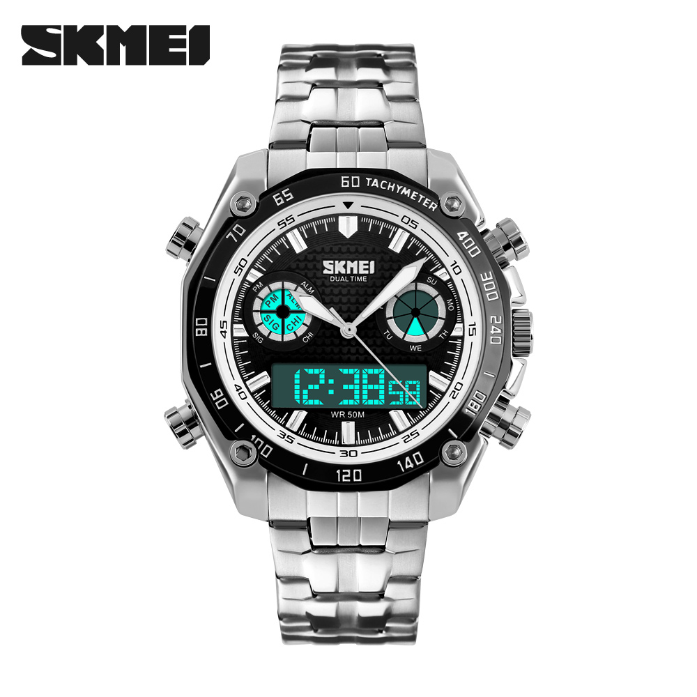 font b SKMEI b font Men Wristwatch Digital Quartz Watch Sports Wristwatches Dual Time Stainless