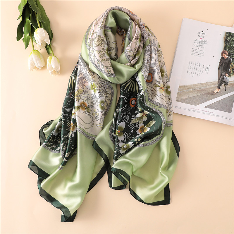 autumn women silk   scarf   female floral printed   scarves   ladies beach   wrap   chiffon shawl soft bandanna sunscreen foulard muffler