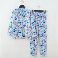 Pijamas de algodão dos desenhos animados pijamas de manga longa das mulheres casuais terno homewear sleepwear noite para as mulheres