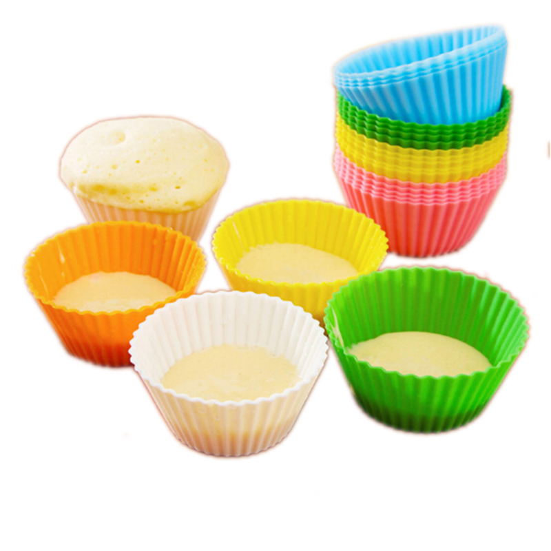 24 Pcslot Cake Cup Kitchen Craft Colour Works Silicone Cupcake Cases Forma De Silicone Cake Decorating Tools Drop Shipping