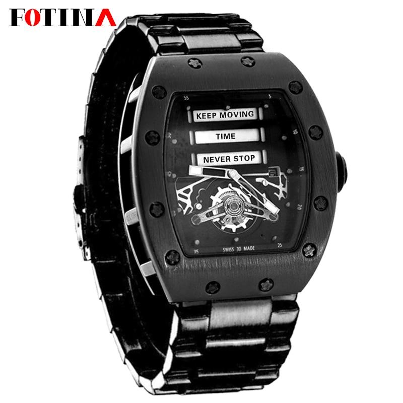 Fotina New Richard Style Gear Watch Men Quartz Military Steel Wristwatch Sport Cool Black Watches Date Hours Relogio Masculino смарт часы samsung gear s2 black