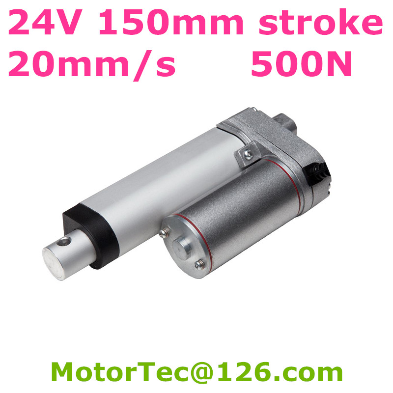 24V 20mm/s speed 150mm stroke 500N 50KG 110 lbs load Waterproof electric mini linear actuator free shipping 24V 20mm/s speed 150mm stroke 500N 50KG 110 lbs load Waterproof electric mini linear actuator free shipping