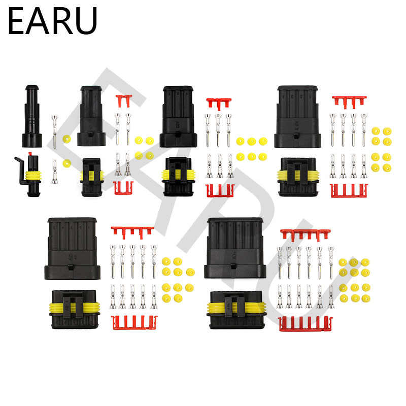 5 Sets 1P 2P 3P 4P 5P 6P AMP 1.5 Super Seal Waterproof Electrical Wire Cable Connector Male Female Plug For Car Auto Xenon Lamp