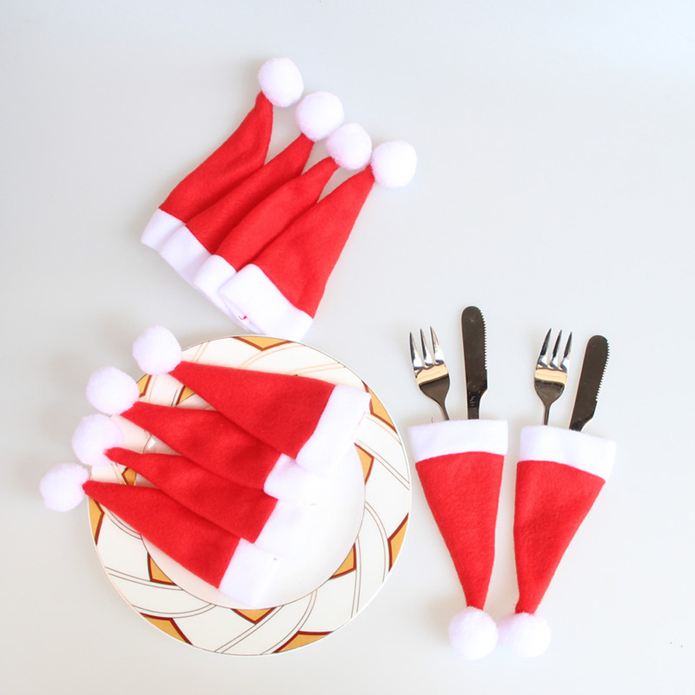 10PCS Christmas Caps Cutlery Holder Fork Spoon Pocket Christmas Decor Bag Christmas Decorations Hat